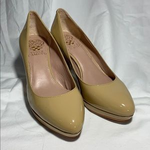 Vince Camuto patent 3 inch heels size 6M/36 beige